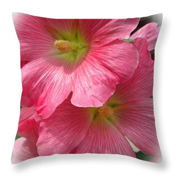 Pretty Pink Hollyhocks Throw Pillow