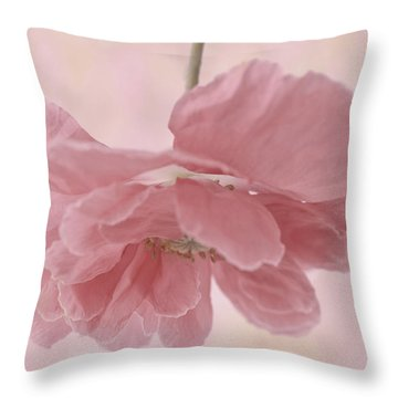 Suspended Pink Poppy Flower Throw Pillows