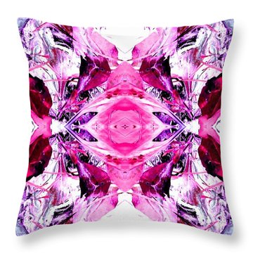 Pretty Pink Weeds Abstract  3 Throw Pillow