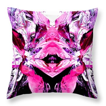 Throw Pillow featuring the photograph Pretty Pink Weeds Abstract  5 by Marianne Dow