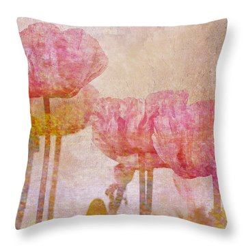 Pretty Poppy Garden Throw Pillow by Peggy Collins