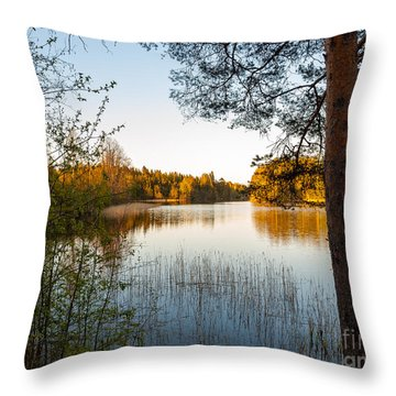 Pretty Spring Evening At The Lake Throw Pillow