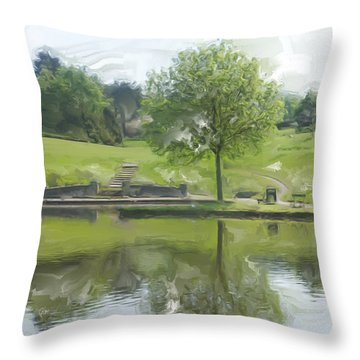 Pretty Tree In Park Picture.  Throw Pillow by Christopher Rowlands