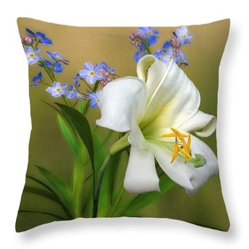 Pretty White Lily Throw Pillow