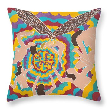 Throw Pillow featuring the painting Preyed by Erika Chamberlin