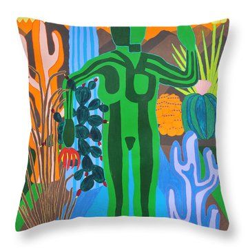 Throw Pillow featuring the painting Pricked by Erika Chamberlin