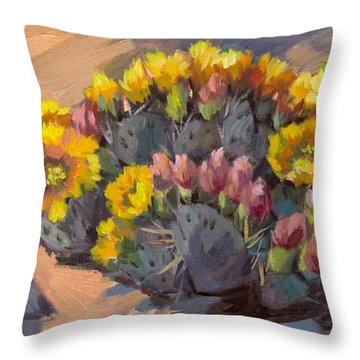 Prickly Pear Cactus In Bloom Throw Pillow by Diane McClary