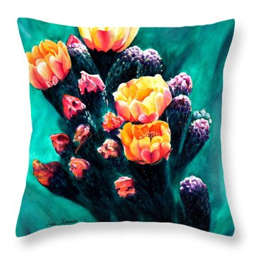Prickly Pear Cactus Painting Throw Pillow