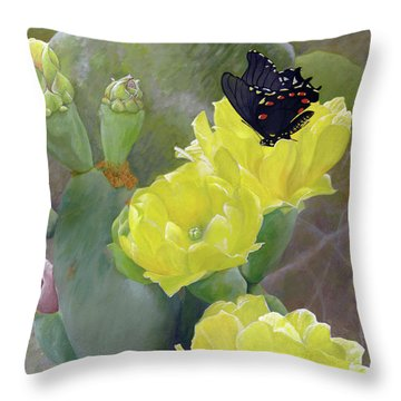 Prickly Pear Flower Throw Pillow by Adam Johnson