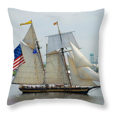 Pride Of Baltimore II Passing By Fort Mchenry Throw Pillow by Mark Dodd