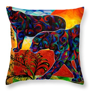 Primal Dance Throw Pillow by Sherry Shipley