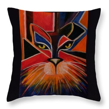 Primary Cat Throw Pillow by Carolyn LeGrand