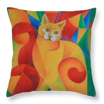 Primary Cat II Throw Pillow by Pamela Clements