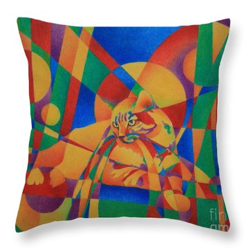 Primary Cat IIi Throw Pillow by Pamela Clements