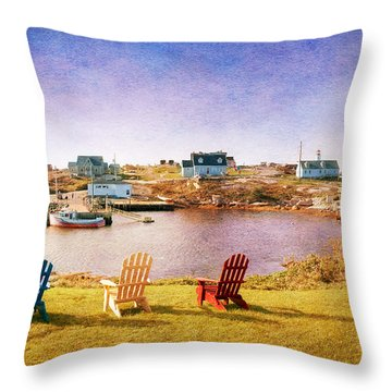 Primary Chairs - Digital Art Throw Pillow by Renee Sullivan
