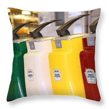Primary Colors Of Condiments Throw Pillow by Kym Backland