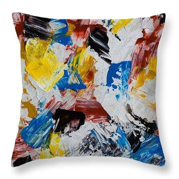 Throw Pillow featuring the painting Primary Plus by Heidi Smith