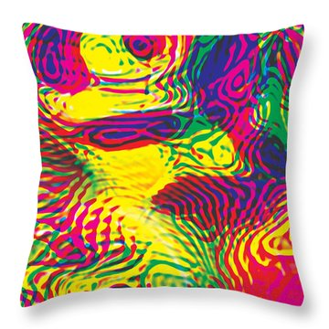 Primary Ripples Hot Throw Pillow
