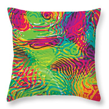 Primary Ripples In Green Throw Pillow