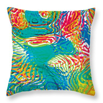 Primary Ripples Tropical Throw Pillow