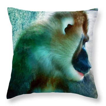 Throw Pillow featuring the photograph Primate 1 by Dawn Eshelman