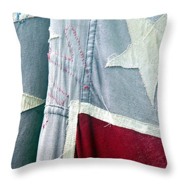 Primitive Flag Throw Pillow by Valerie Reeves