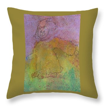 Throw Pillow featuring the mixed media Primitive Giant by Catherine Redmayne