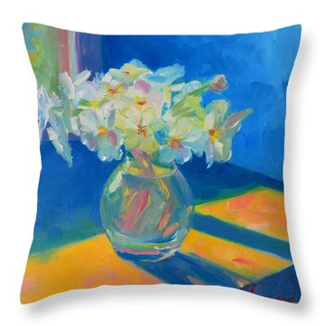 Primroses In Spring Light - Still Life Throw Pillow