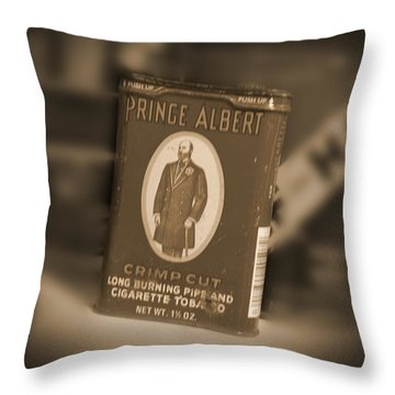 Prince Albert In A Can Throw Pillow by Mike McGlothlen