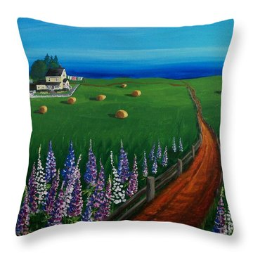 Prince Edward Island Coastal Farm Throw Pillow