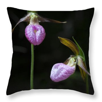 Prince Edward Island Lady Slippers Throw Pillow by Verena Matthew