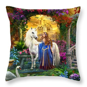 Princess And Unicorn In The Cloisters Throw Pillow