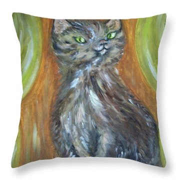 Throw Pillow featuring the painting Princess Kitty by Teresa White