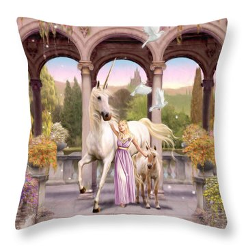 Princess Of The Unicorns Variant 1 Throw Pillow by Garry Walton