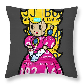 Princess Peach From Mario Brothers Nintendo Recycled License Plate Art Portrait Throw Pillow by Design Turnpike