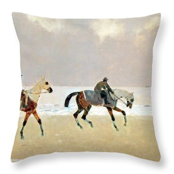 Princeteau's Riders On The Beach At Dieppe Throw Pillow