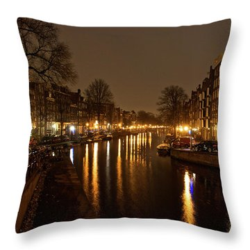 Prinsengracht Canal After Dark Throw Pillow