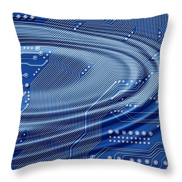 Printed Circuit With Waves Throw Pillow by Michal Boubin