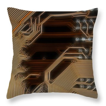 Printed Curcuit Throw Pillow by Michal Boubin