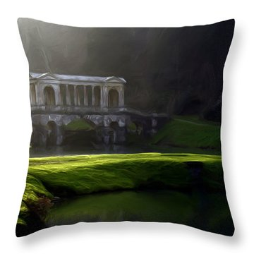 Throw Pillow featuring the digital art Prior Park Bath by Ron Harpham