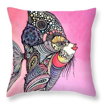 Priscilla The Fish Throw Pillow by Iya Carson
