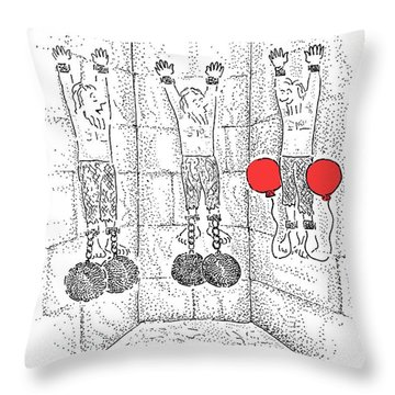 Prisoner In Dungeon Has Orange Balloons Attached Throw Pillow