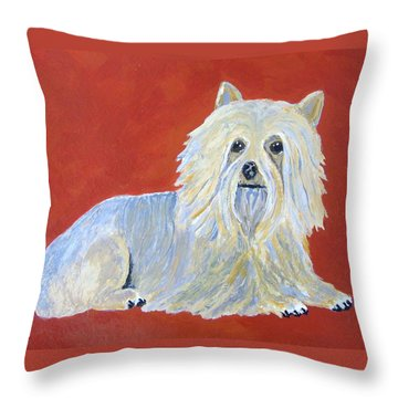 Throw Pillow featuring the painting Prissy by Suzanne Theis