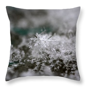 Throw Pillow featuring the photograph Pristine Snowflake by Stacey Zimmerman