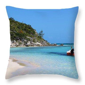 Private Beach Bahamas Throw Pillow