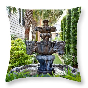 Throw Pillow featuring the photograph Private Fountain by Jean Haynes