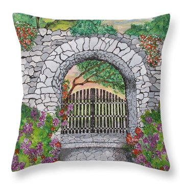 Private Garden At Sunset Throw Pillow