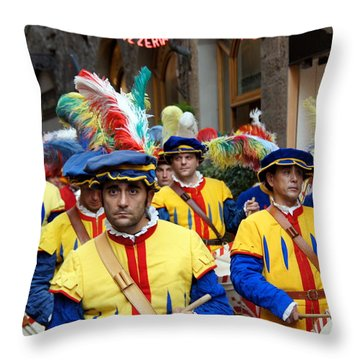 Procession Throw Pillow by Debi Demetrion