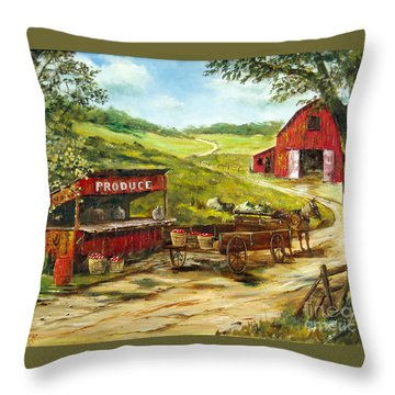 Throw Pillow featuring the painting Produce Stand by Lee Piper