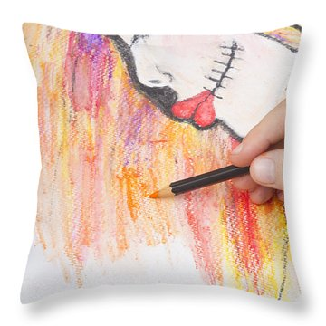 Professional Artist Illustrating Sugar Skull Girl Throw Pillow